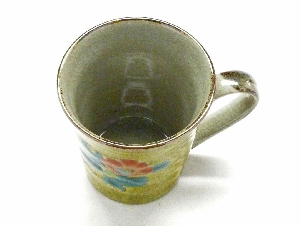 九谷焼【マグカップ】椿に鳥 黄塗り【裏絵】