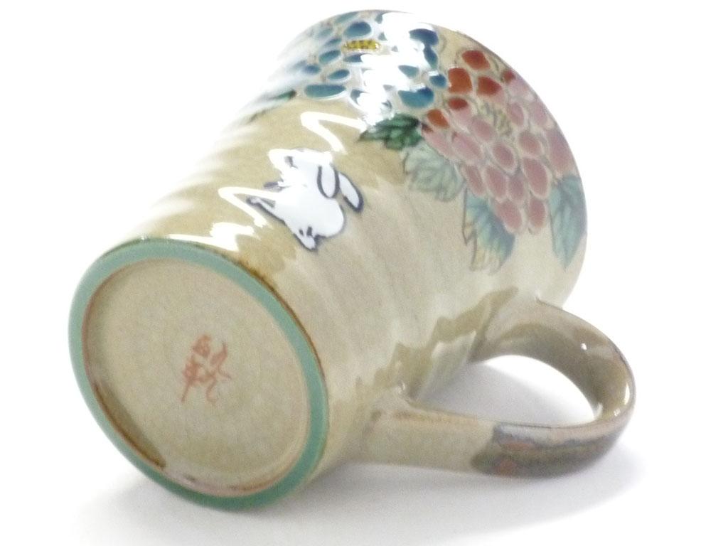 九谷焼通販 マグカップ マグ 白兎 色絵牡丹 高台の図