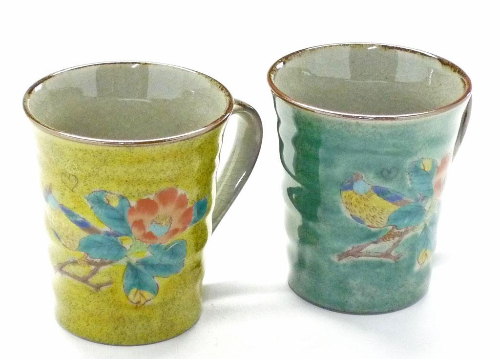 九谷焼通販 おしゃれ ギフト マグカップ マグ ペア セット 椿に鳥 黄塗り&緑塗り 裏絵 正面の図