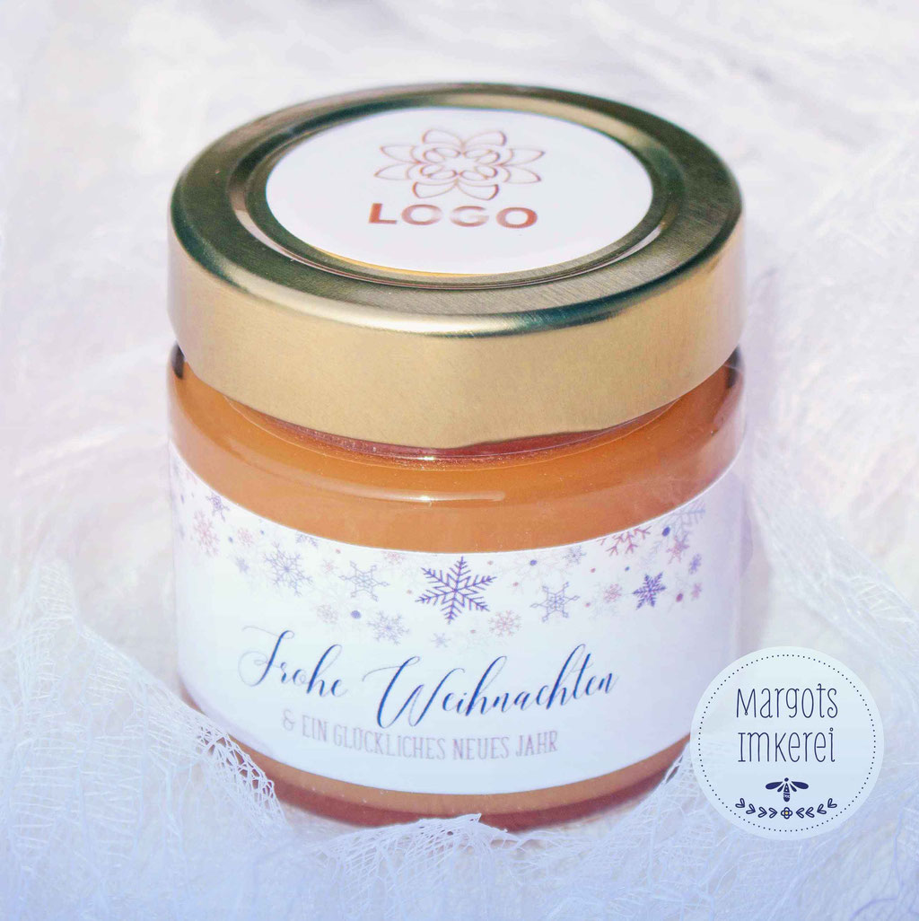 Ein kleines Geschenk für Kunden, Mitarbeiter, Freunde und Nachbarn. Köstlicher Honig im hübschen Geschenkglas.