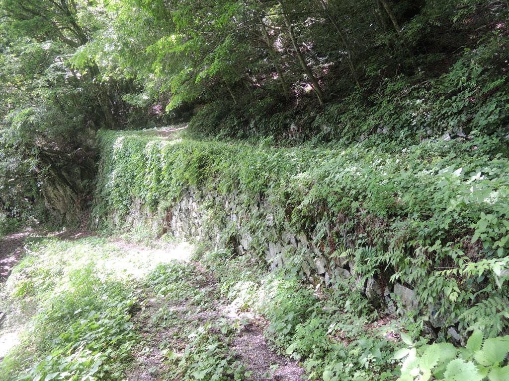 新見市菅生、鳴滝横の「七曲がり」。その昔、木材を運ぶために作られました。