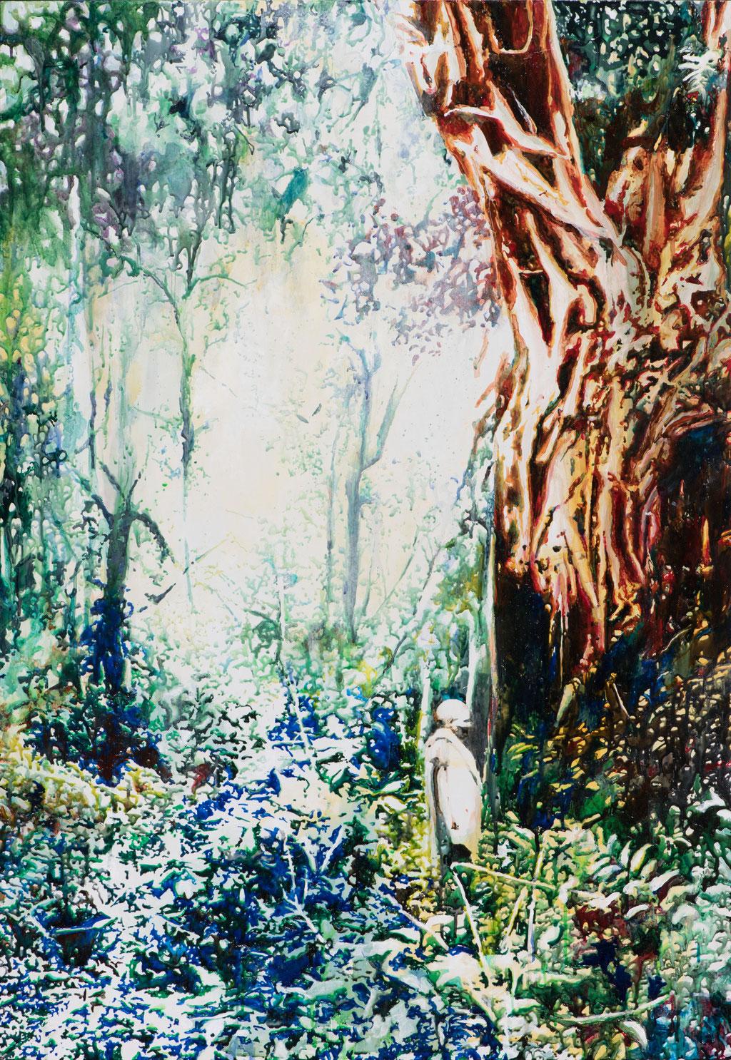 Colonial Dream, Glasmalfarben auf MDF Platte, 140 x 100 cm, 2018