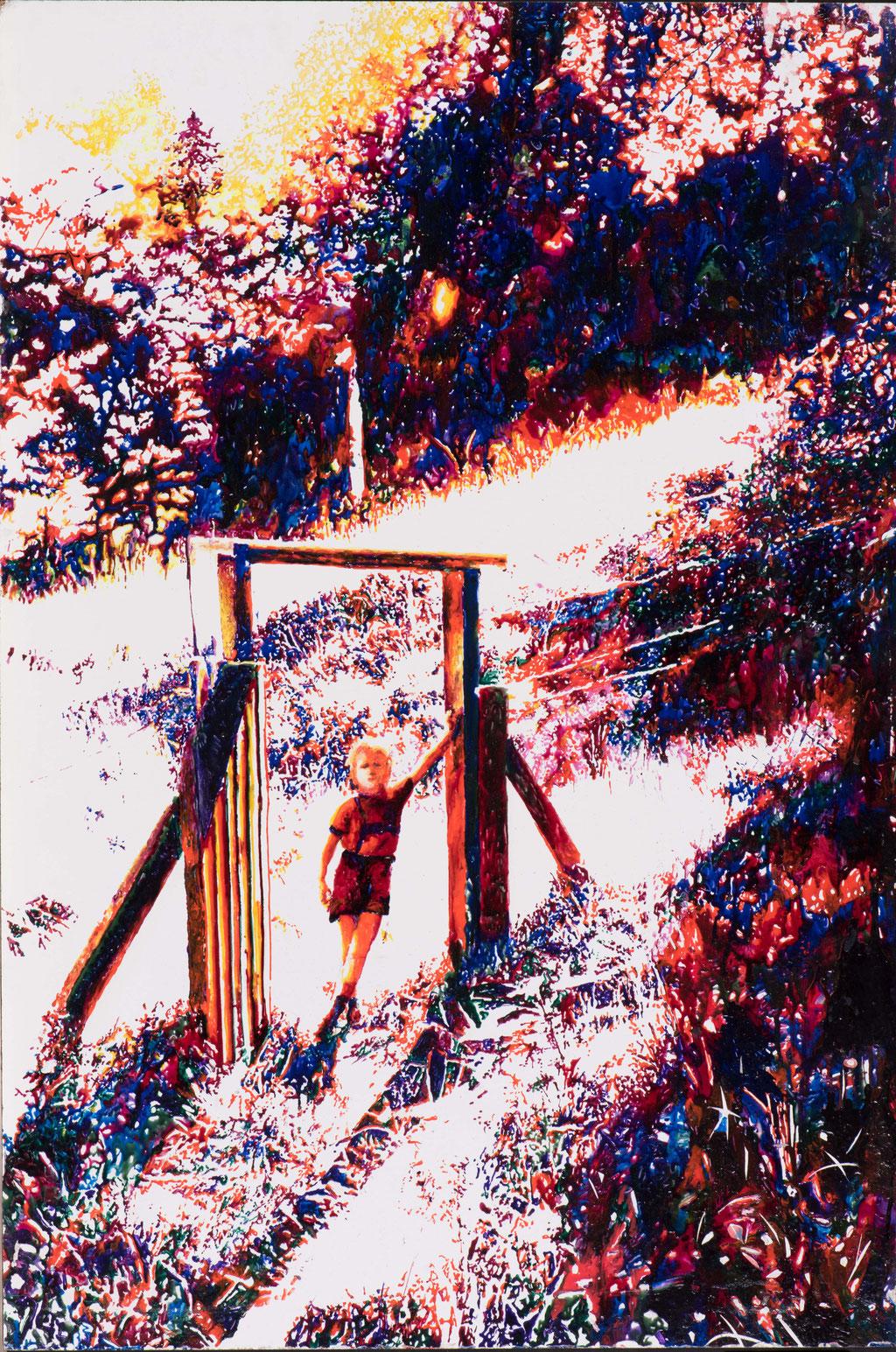 Sebastian, Glasmalfarben auf MDF Platte, 96 x 77 cm, 2015