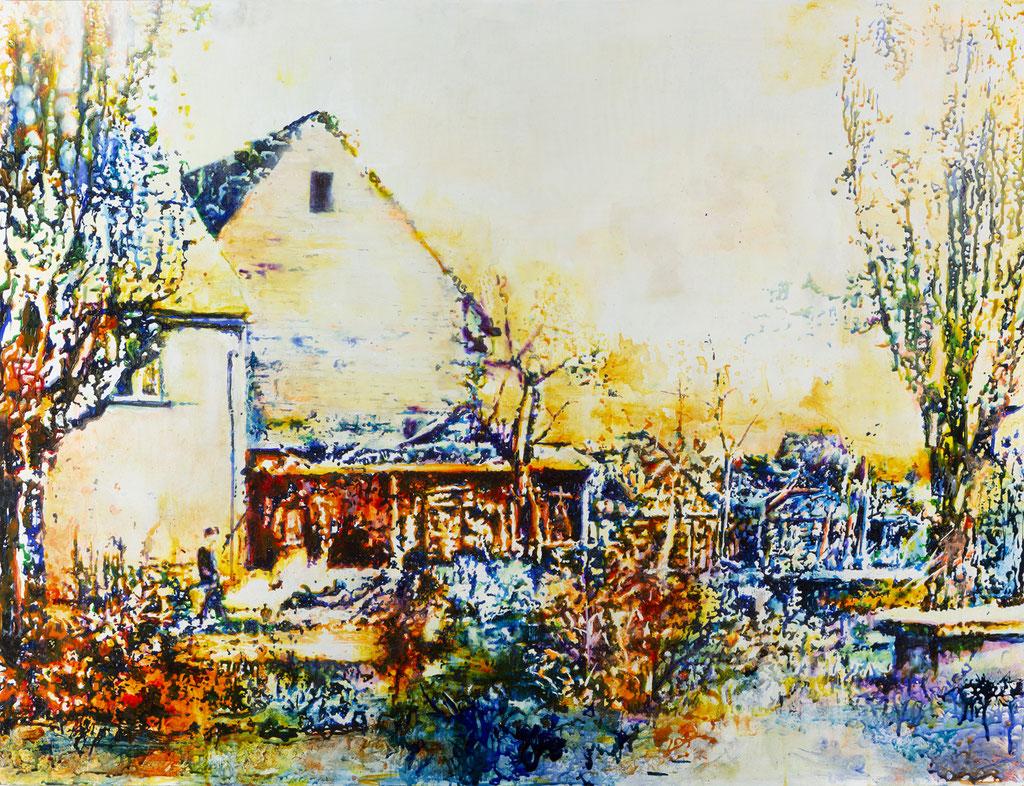 Altenbeken, Glasmalfarben auf MDF Platte, 93 x 120 cm, 2019
