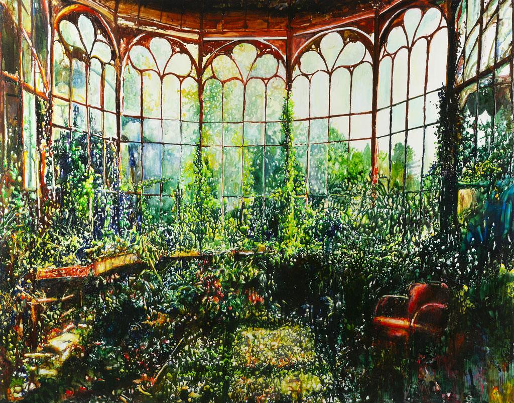 Orangerie, Glasmalfarben auf MDF Platte, 130 x 164 cm, 2019