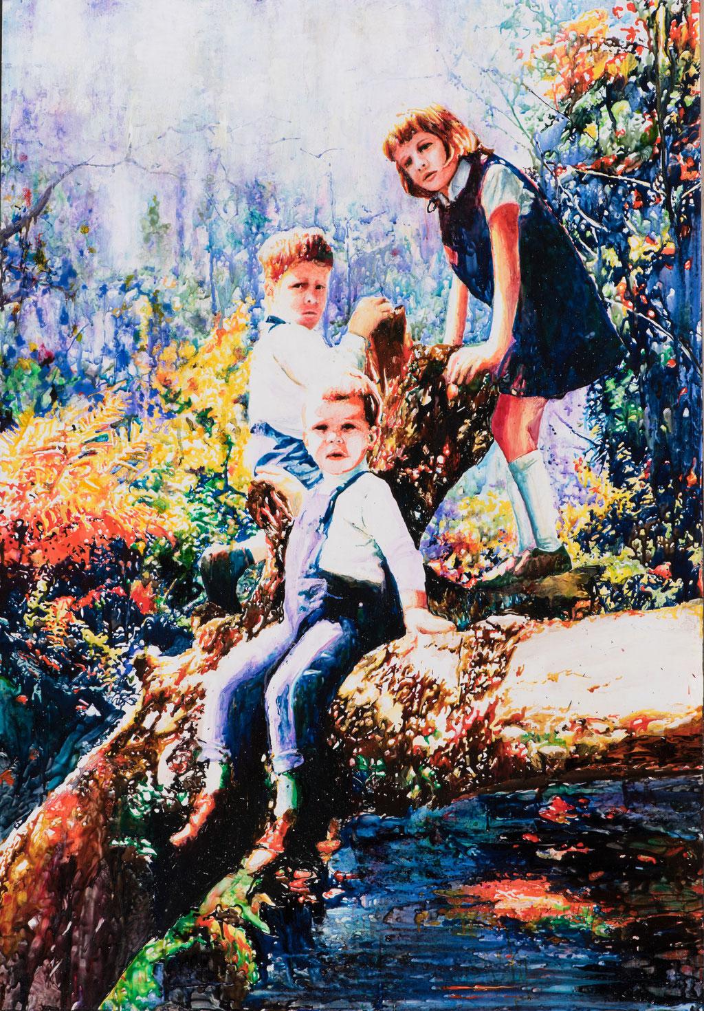 Vaters Obstgarten, Glasmalfarben auf MDF Platte, 140 x 100 cm. 2018