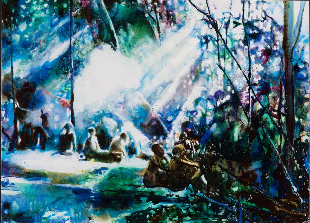 Colonial Dream 2, Glasmalfarben auf MDF Platte, 72  x 100 cm