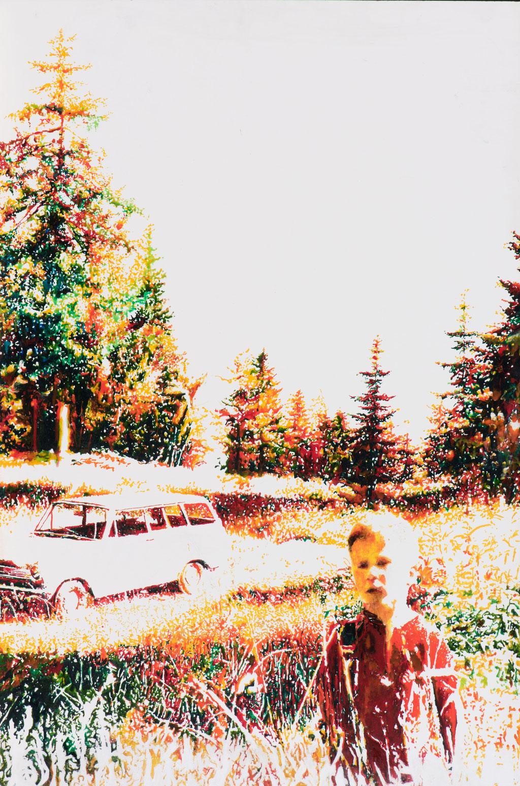 Martin, Glasmalfarben auf MDF Platte, 120 x 80 cm, 2015