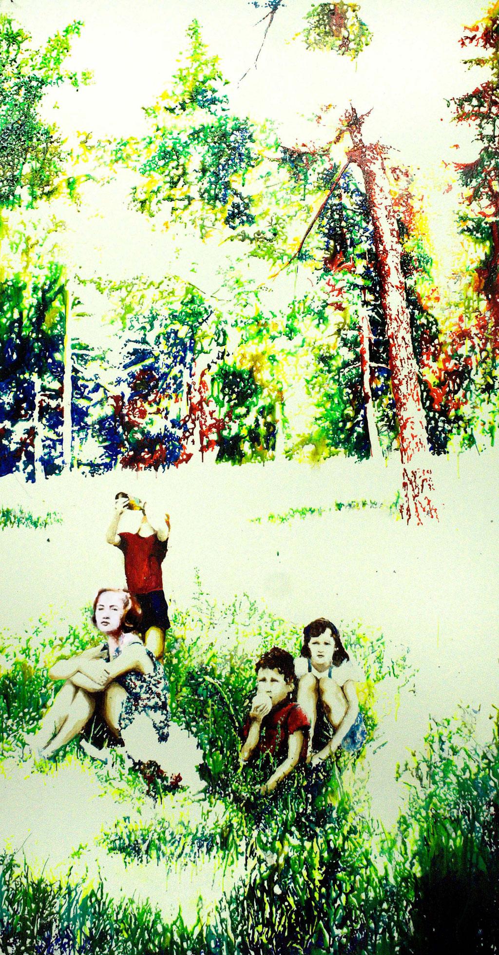 Picknick im Grünen, Glasmalfarben auf MDF Platte, 200 x 145 cm, 2014