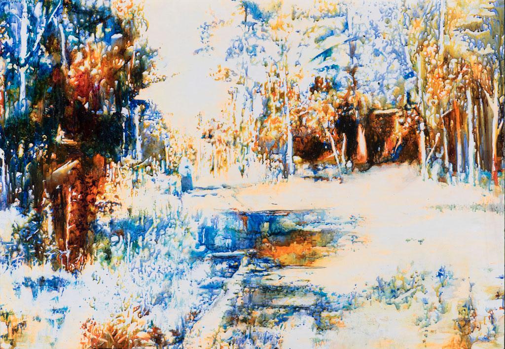 Altes Land, Glasmalfarben auf MDF Platte, 100 x 140 cm, 2018