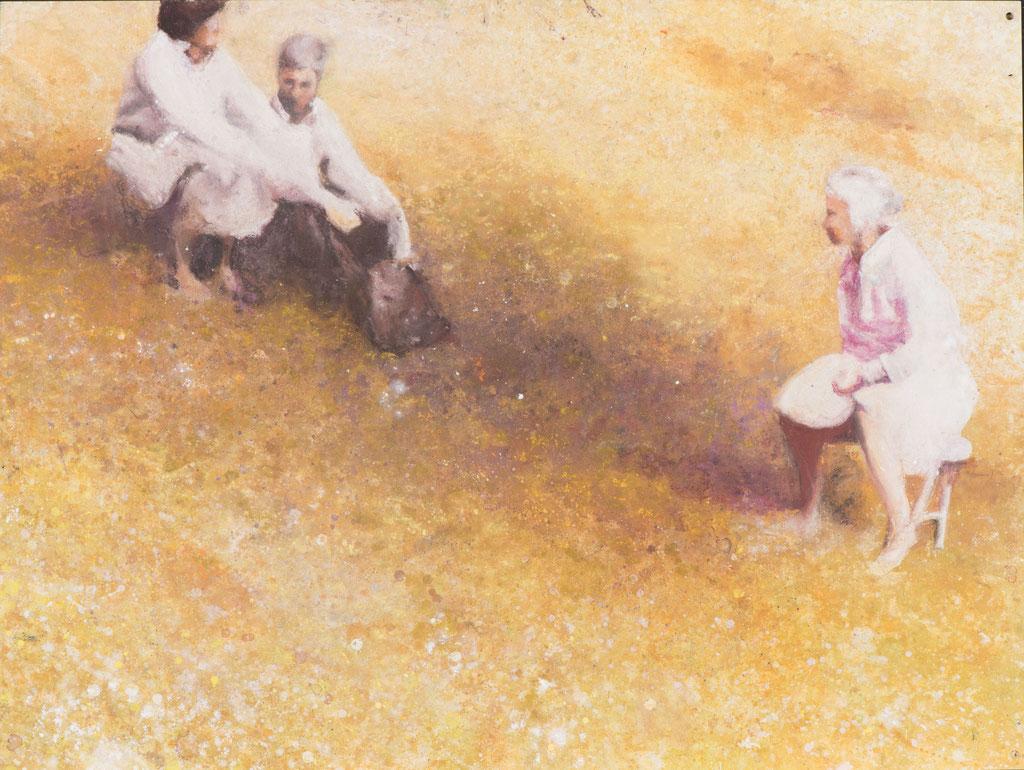 Goldene Hochzeit, Pastellkreide und Spraylack auf MDF Platte, 58 x 80 cm, 2014