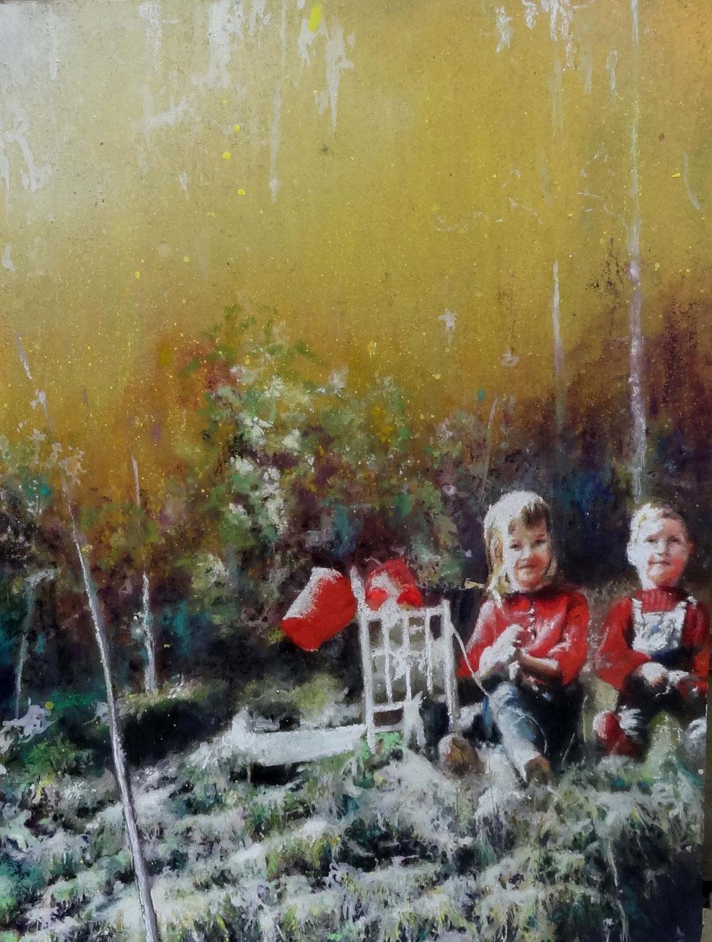Ohne Titel, Pastellkreiden und Spraylack auf MDF Platte, 80 x 60 cm, 2014