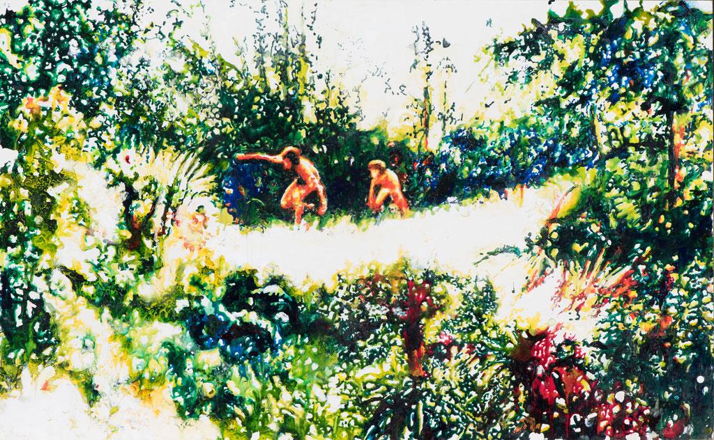 Arcadia, Glasmalfarben auf MDF Platte, 58 x 94 cm
