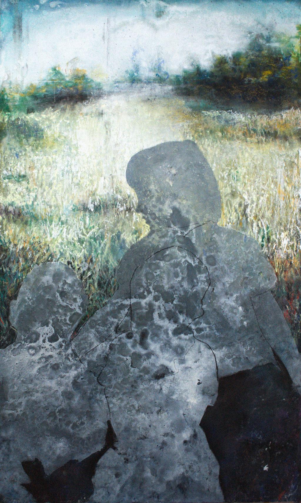 Ohne Titel, Pastellkreiden auf MDF Platte, 94 x 56 cm, 2016