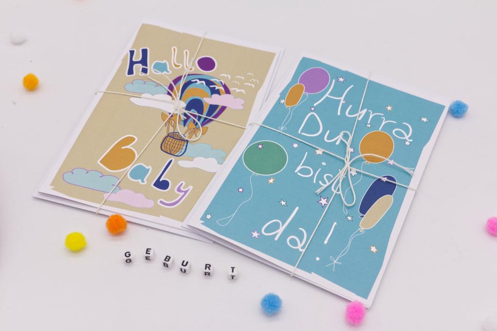 Grußkarten zur Geburt Hurra Du Bist da und Hallo Baby
