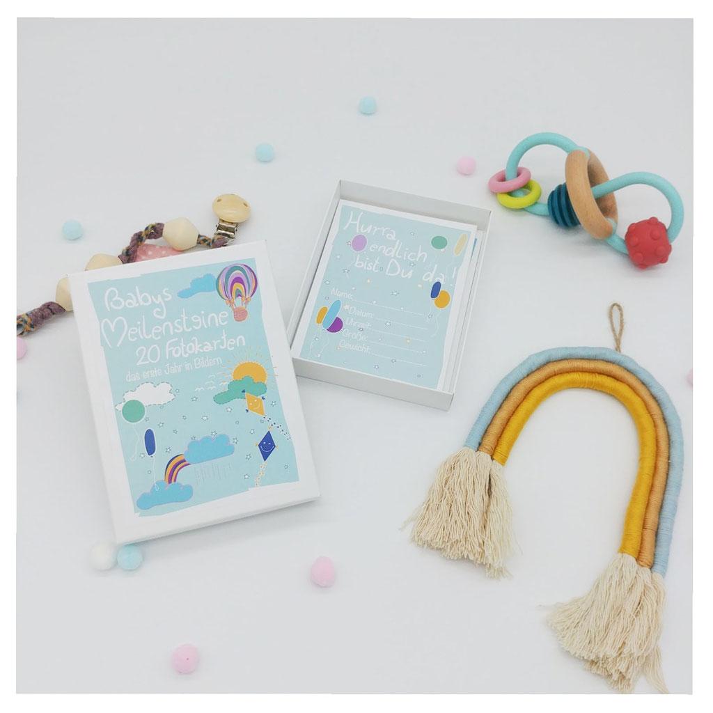 Babys Meilenstein Kartenset mit  Motiven wie Regenbogen , Luftballons unisex
