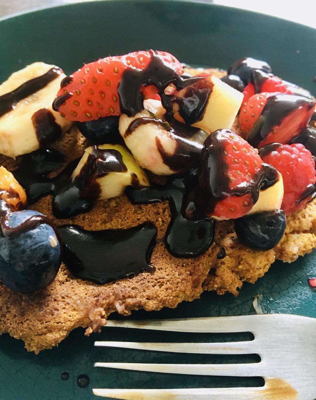 Carob sauce over Sweet Potato Pancakes
