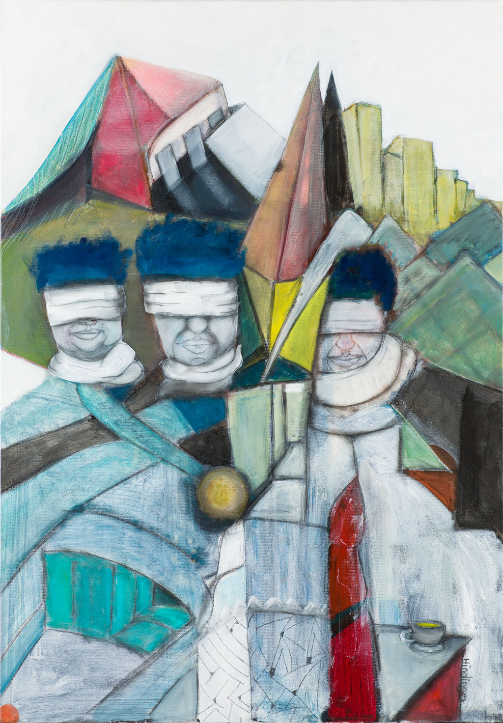 kontrollierte wachsamkeit - 70 x 100 cm, Acryl auf Leinwand
