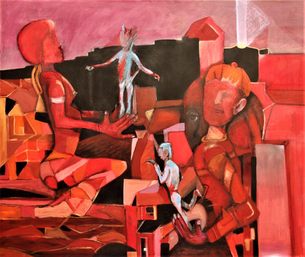 hinter dem dananch - 100 x 120 cm, Acryl auf Leinwand