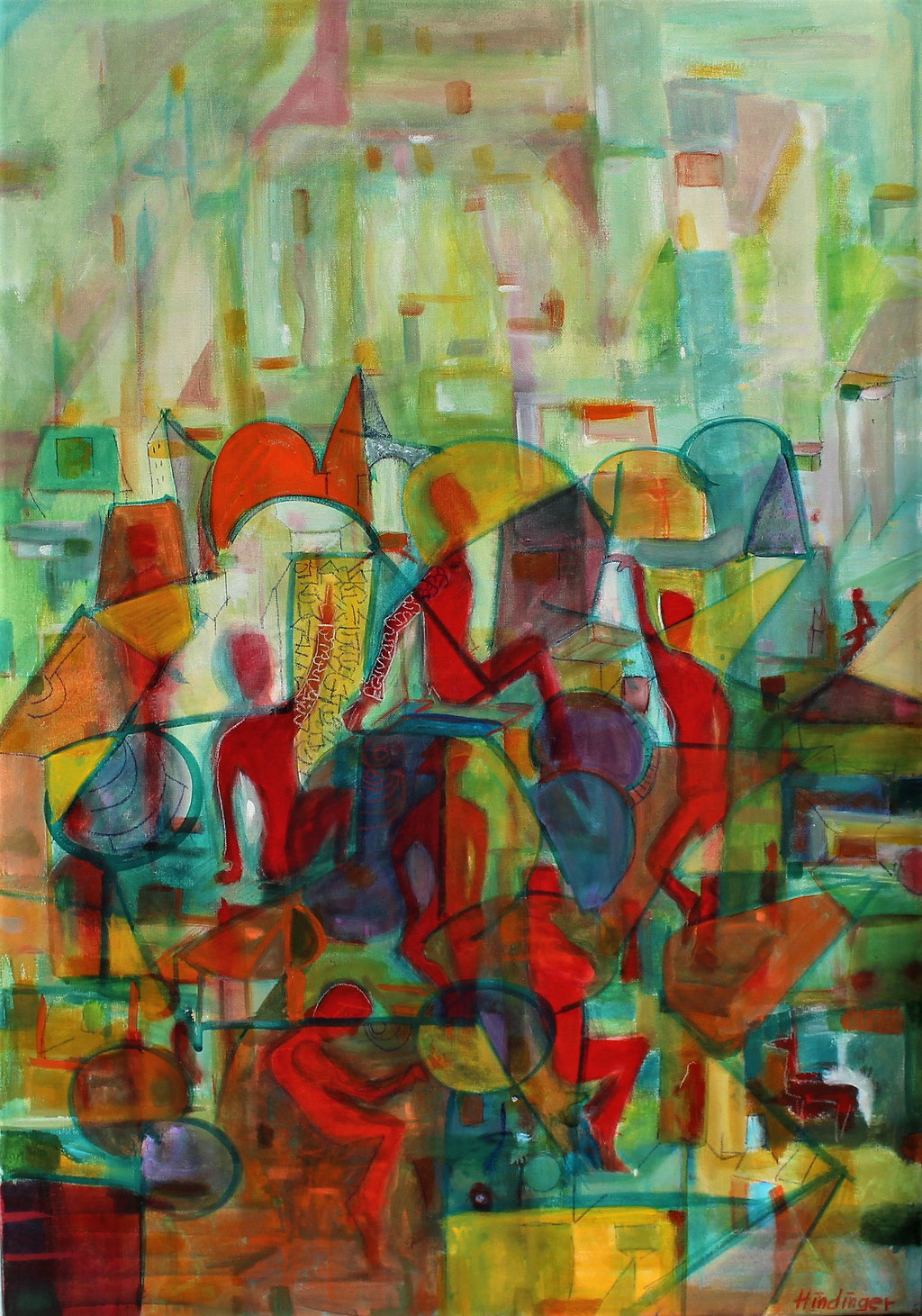 rote männer beim rasten - 70 x 100 cm, Acryl auf Leinwand