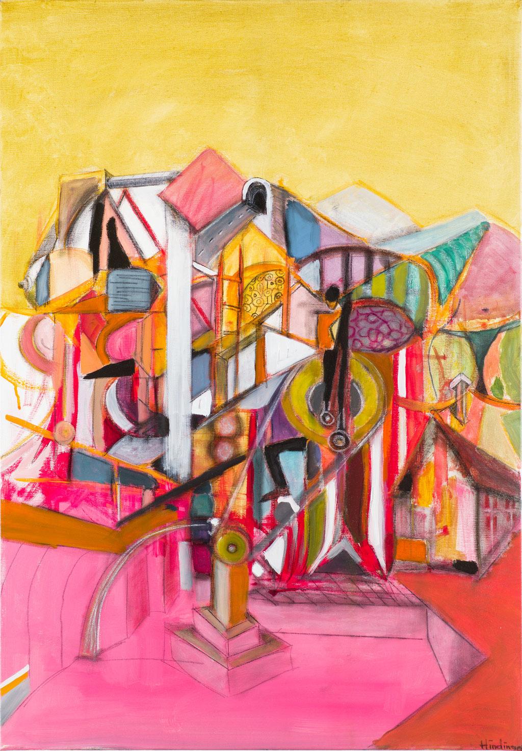 die papiermühle bei breitenberg von linz kommend - 70 x 100 cm, Acryl auf Leinwand
