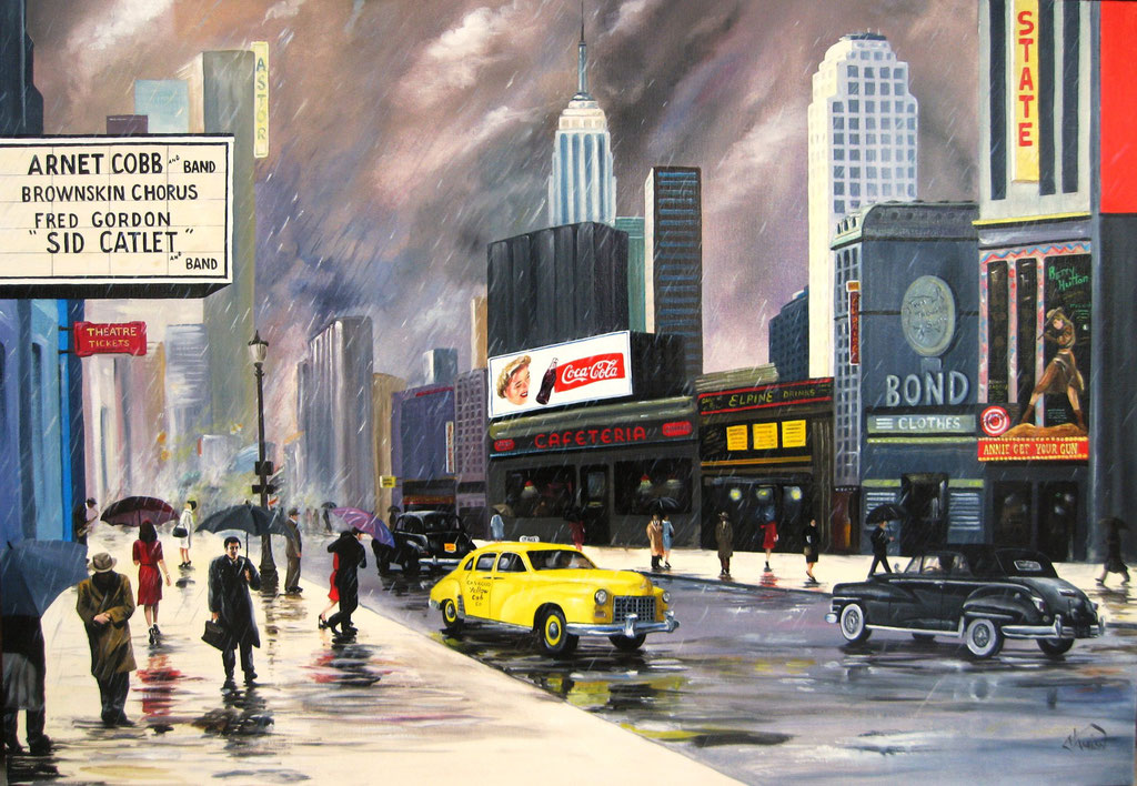 Yellow cab, huile sur toile