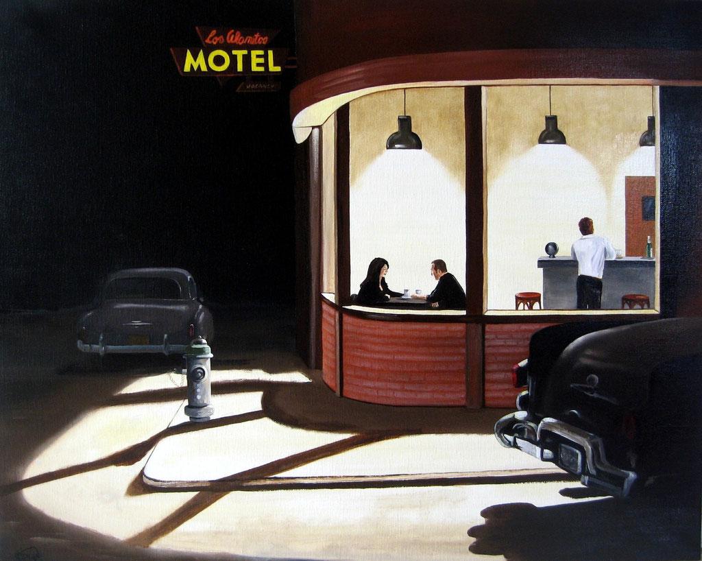 tête-à-tête au motel, huile sur toile ©2015