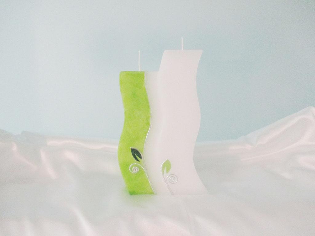 Hochzeitskerze Doppelwelle Grün