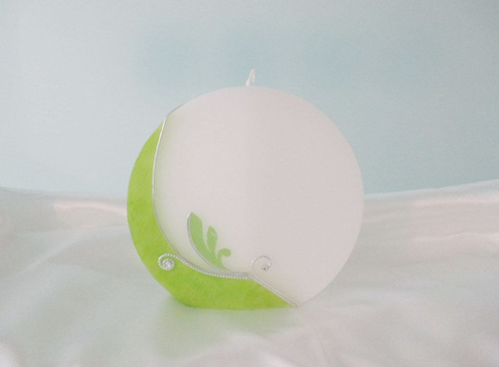 Hochzeitkerze Scheibe Grün