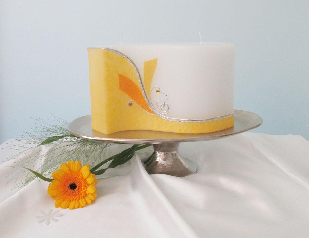 Hochzeitskerze Welle Orange