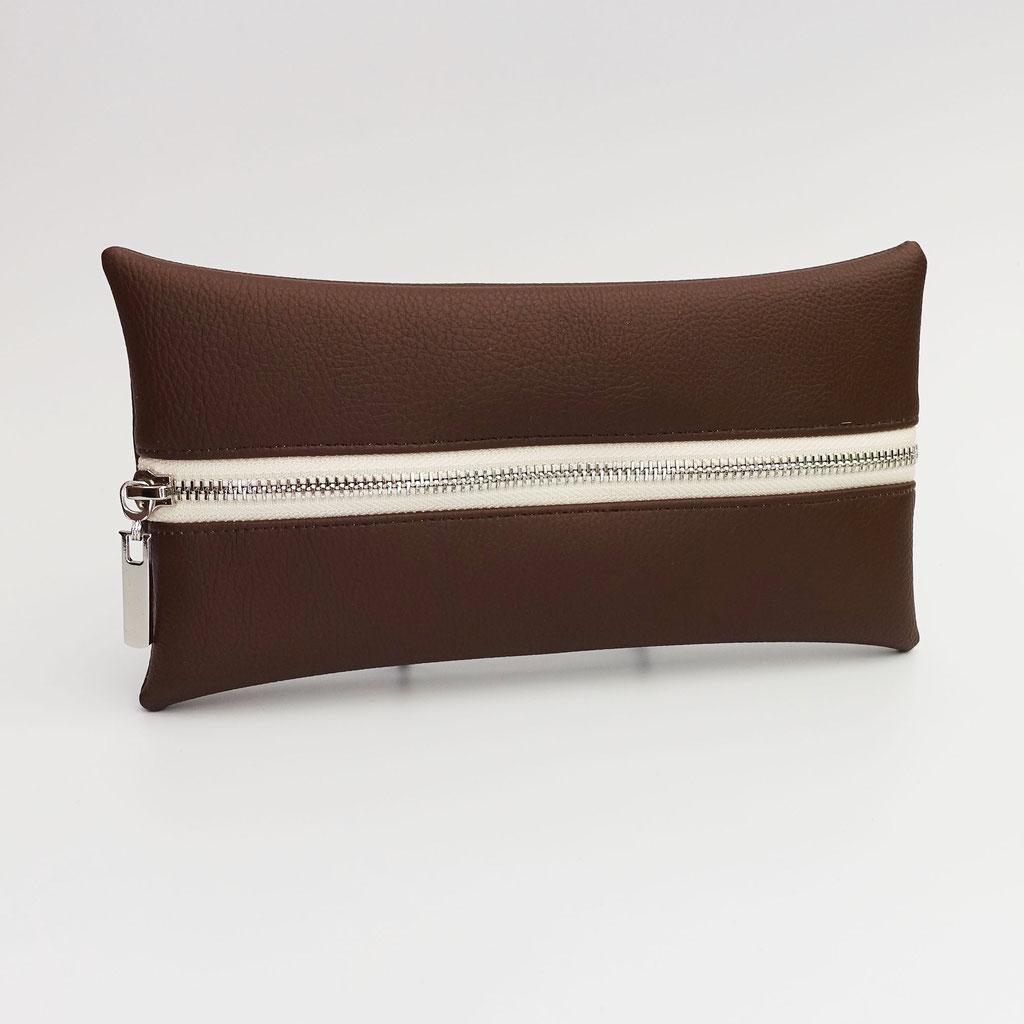 Trousse végane grainé chocolat, zip métal