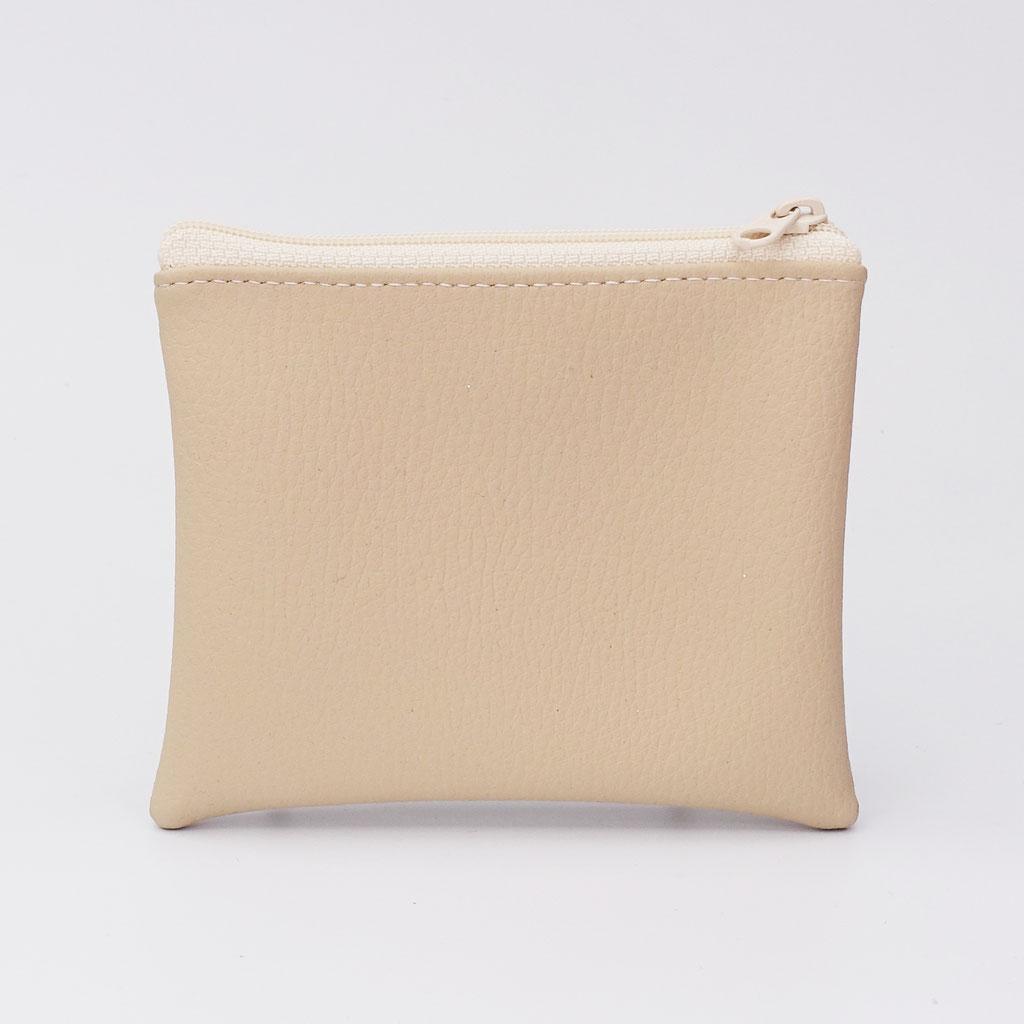 Porte-monnaie végan grainé beige, petit zip nylon
