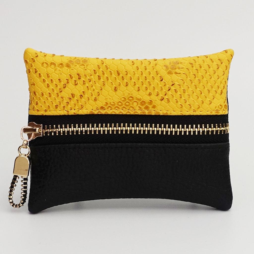 Porte-monnaie végan dragon jaune et grainé noir, dos noir, zip métal doré