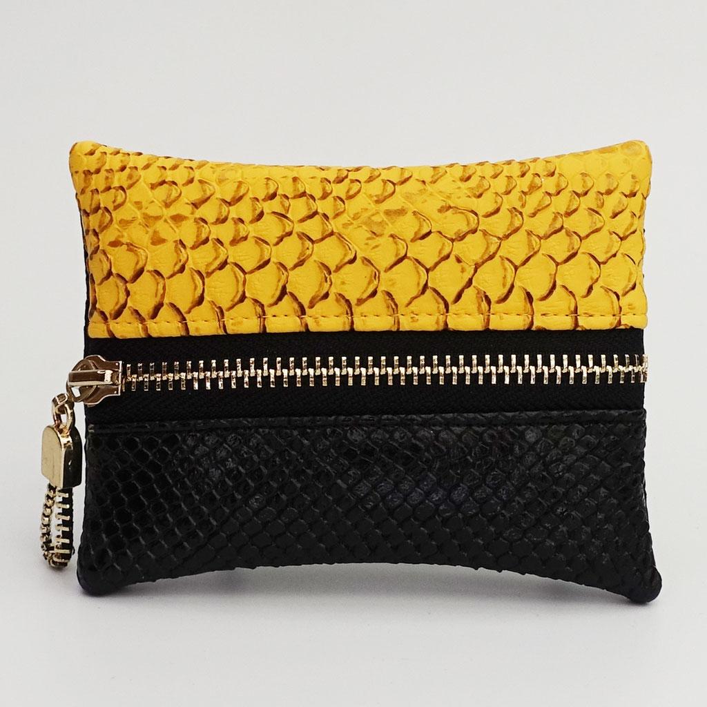 Porte-monnaie végan dragon jaune et noir, dos dragon noir, zip métal doré