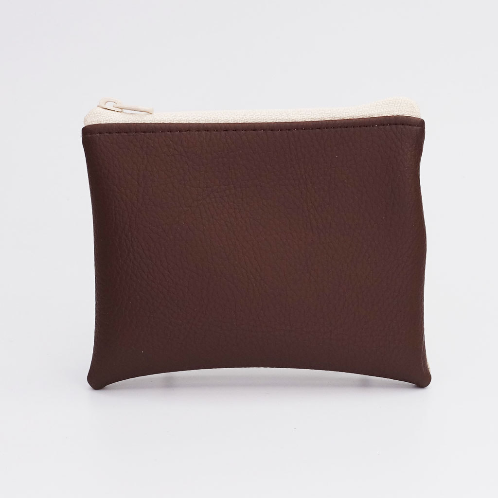 Porte-monnaie grainé beige et chocolat, petit zip nylon