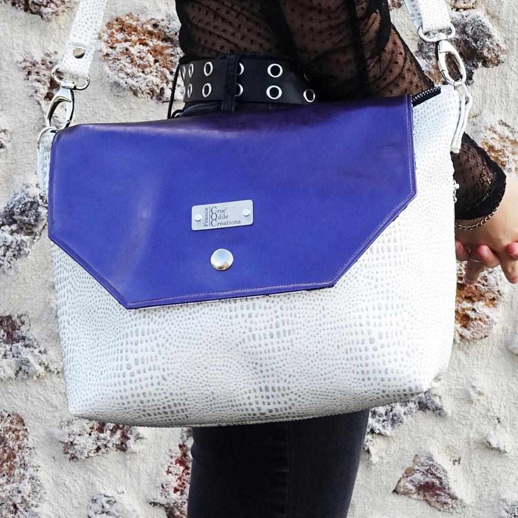 Grand sac Merlin blanc et rabat violet, simili - Avant