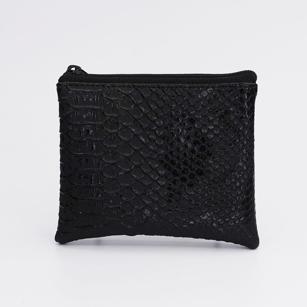 Porte-monnaie végan dragon noir, zip nylon noir