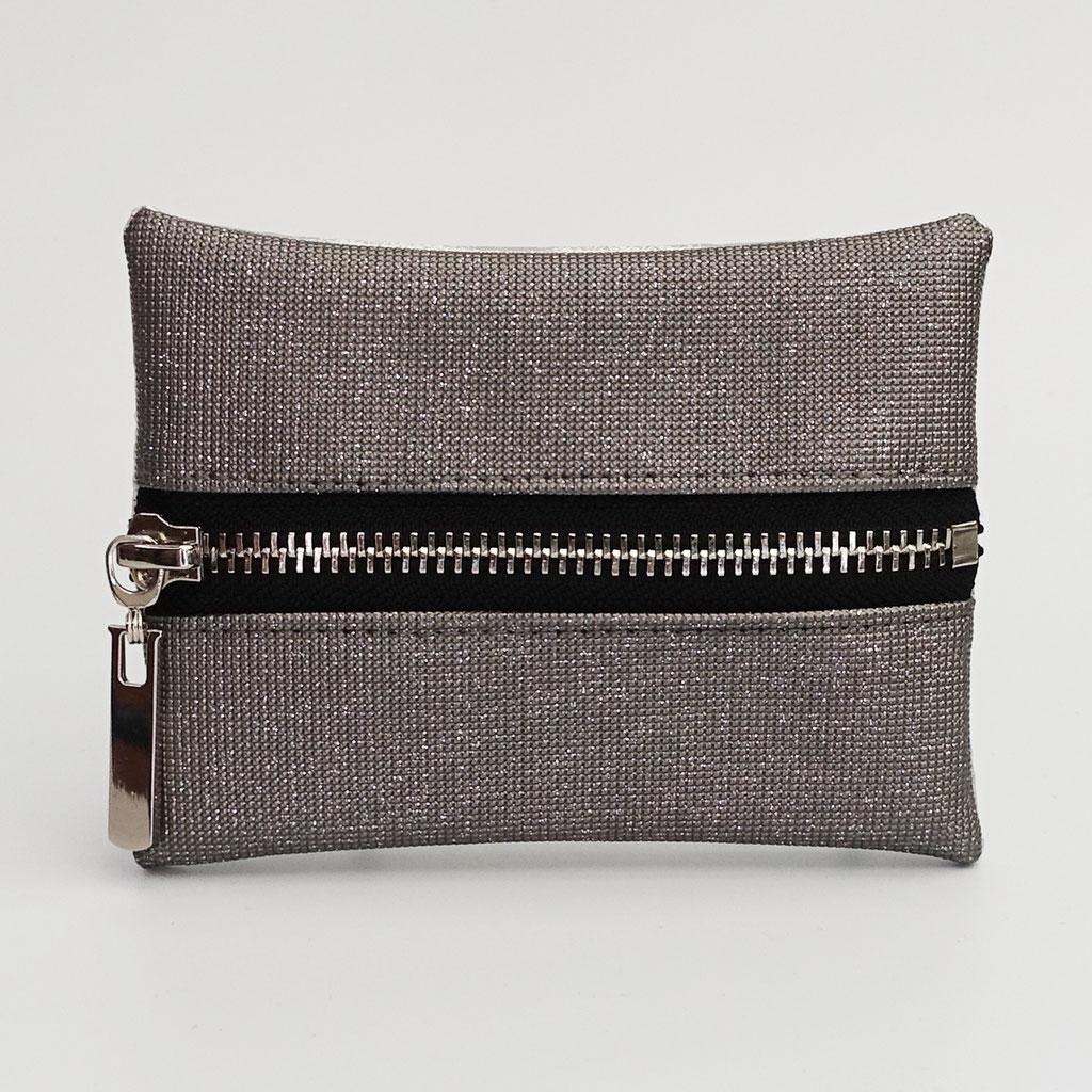 Porte-monnaie pailleté gris clair, zip métal argenté