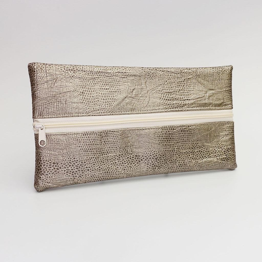 Trousse taupe, zip nylon