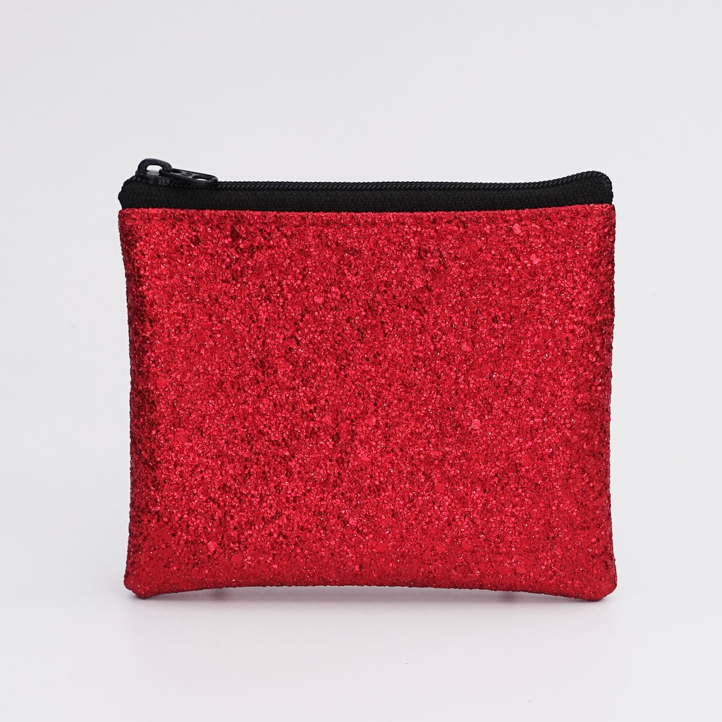 Porte-monnaie végan lurex rouge, petit zip nylon noir