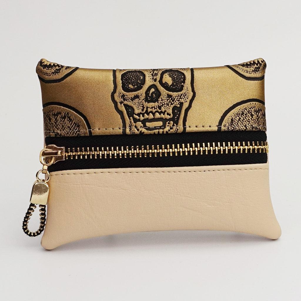 Porte-monnaie têtes de mort bronze et beige (dos beige)