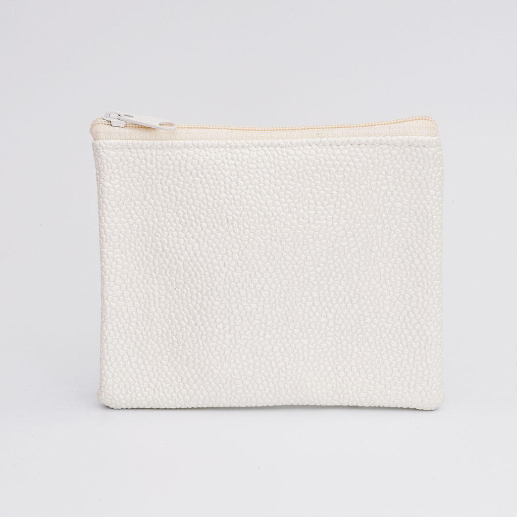 Porte-monnaie végan perlé ivoire, petit zip nylon