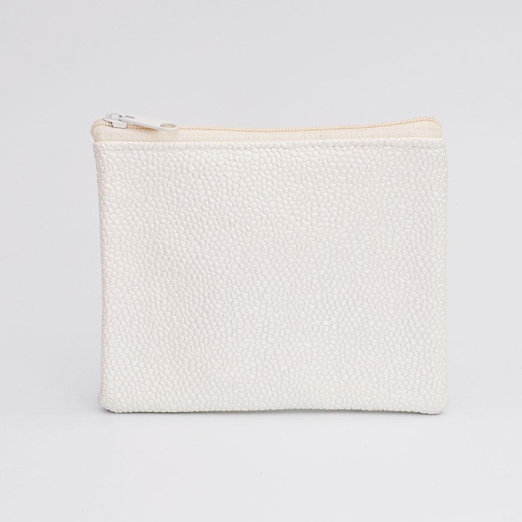 Porte-monnaie perlé ivoire, petit zip nylon