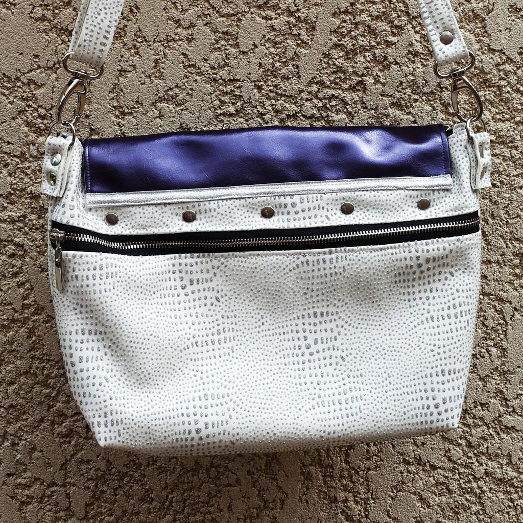 Grand sac Merlin blanc et rabat violet, simili - Dos