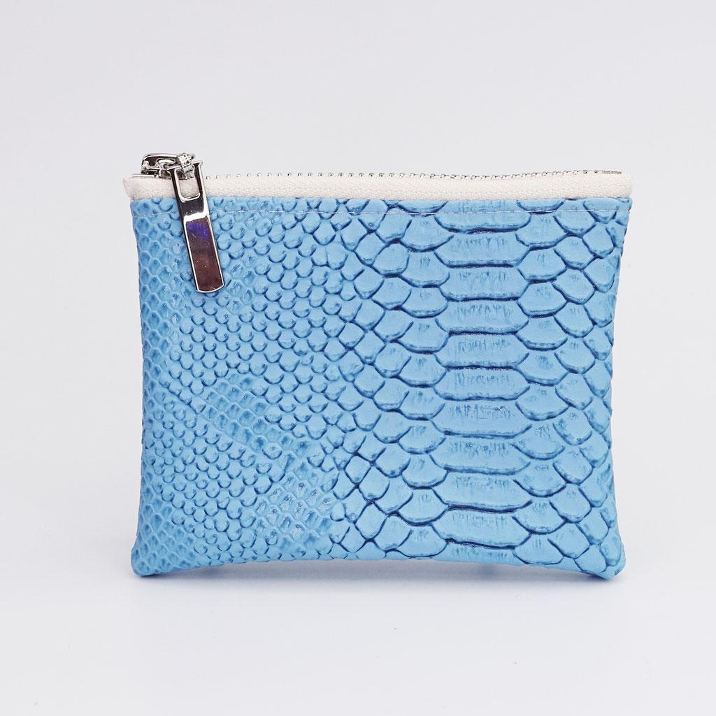 Porte-monnaie végan dragon bleu ciel, zip métal