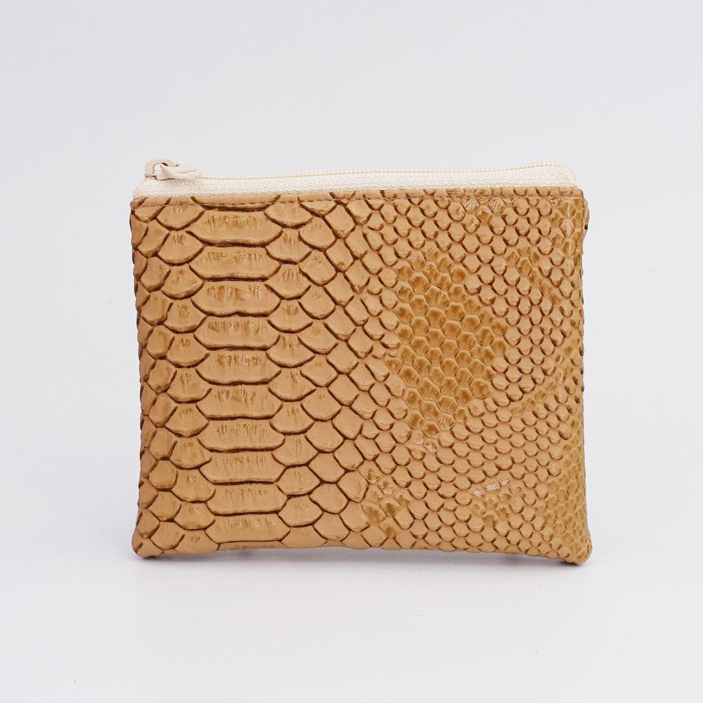 Porte-monnaie dragon caramel, zip nylon beige