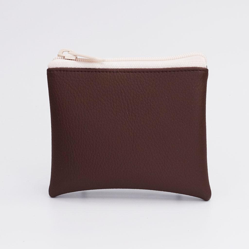 Porte-monnaie végan grainé chocolat, gros zip nylon