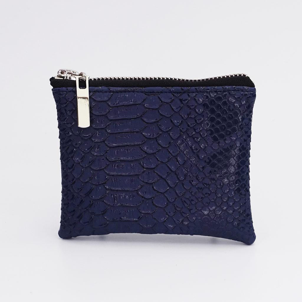 Porte-monnaie végan dragon bleu marine, zip métal