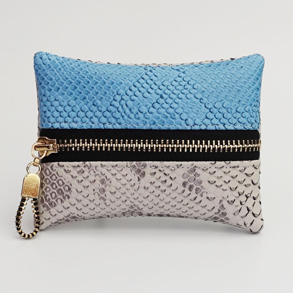 Porte-monnaie dragon gris perle et bleu ciel zip métal doré
