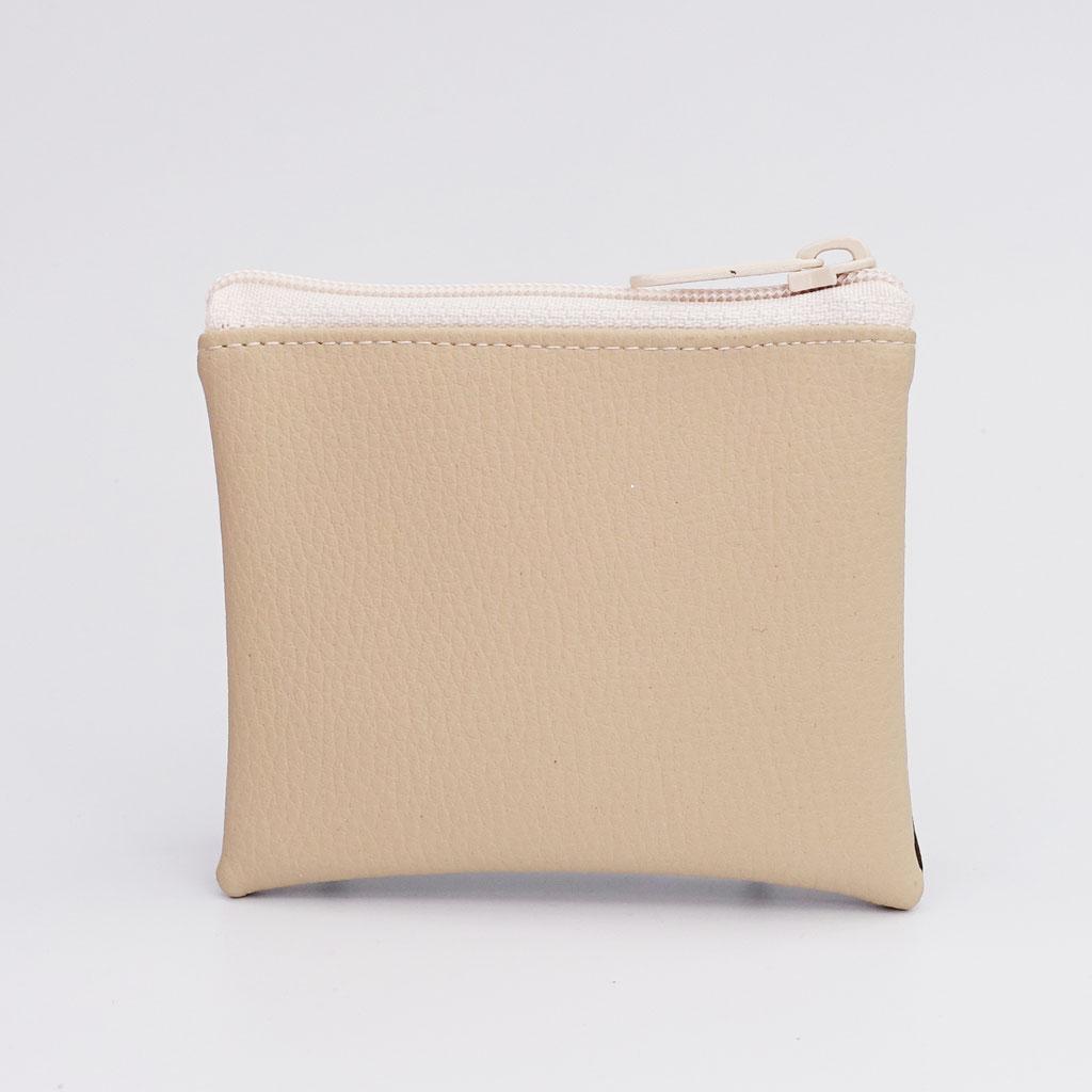 Porte-monnaie grainé chocolat et grainé beige, gros zip nylon